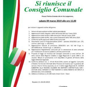 Convocazione Consiglio Comunale – 9 marzo 2019