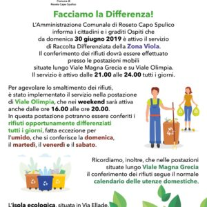 Raccolta Differenziata – Zona Viola – Estate 2019