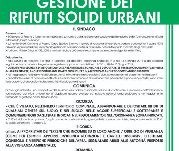 AVVISO ALLA CITTADINANZA – GESTIONE DEI RIFIUTI SOLIDI URBANI