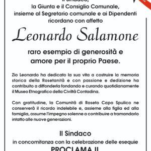 Lutto Cittadino per la scomparsa di Leonardo Salamone