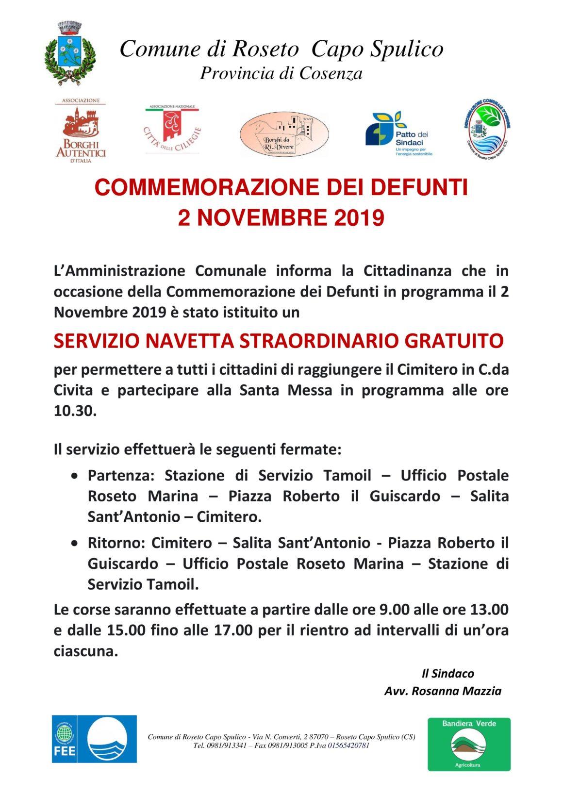 COMMEMORAZIONE DEI DEFUNTI – 2 NOVEMBRE 2019