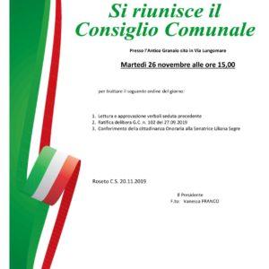 CONVOCAZIONE CONSIGLIO COMUNALE – 26.11.2019