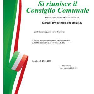 Convocazione Consiglio Comunale – 19.11.2019