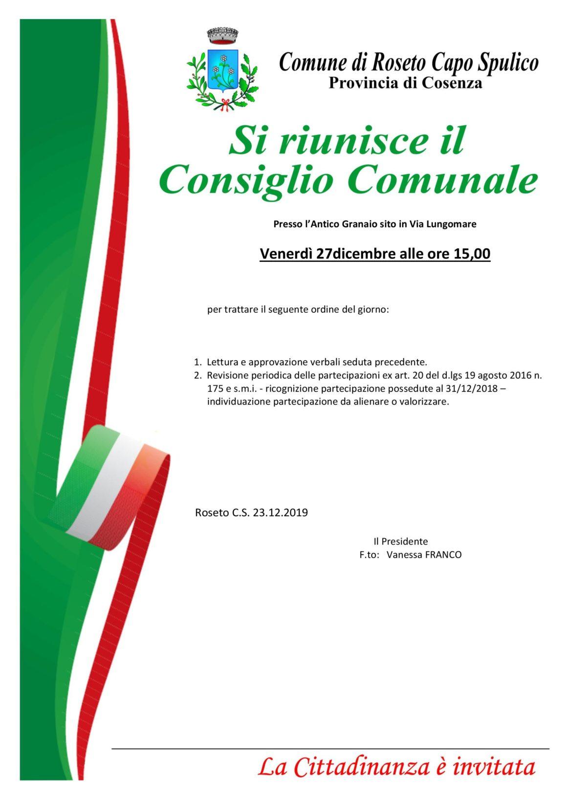 Convocazione Consiglio Comunale – 27 Dicembre 2019