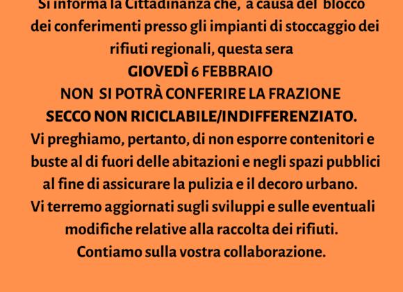 SOSPENSIONE CONFERIMENTO FRAZIONE RIFIUTI SECCO NON RICICLABILE – 6 FEBBRAIO 2020