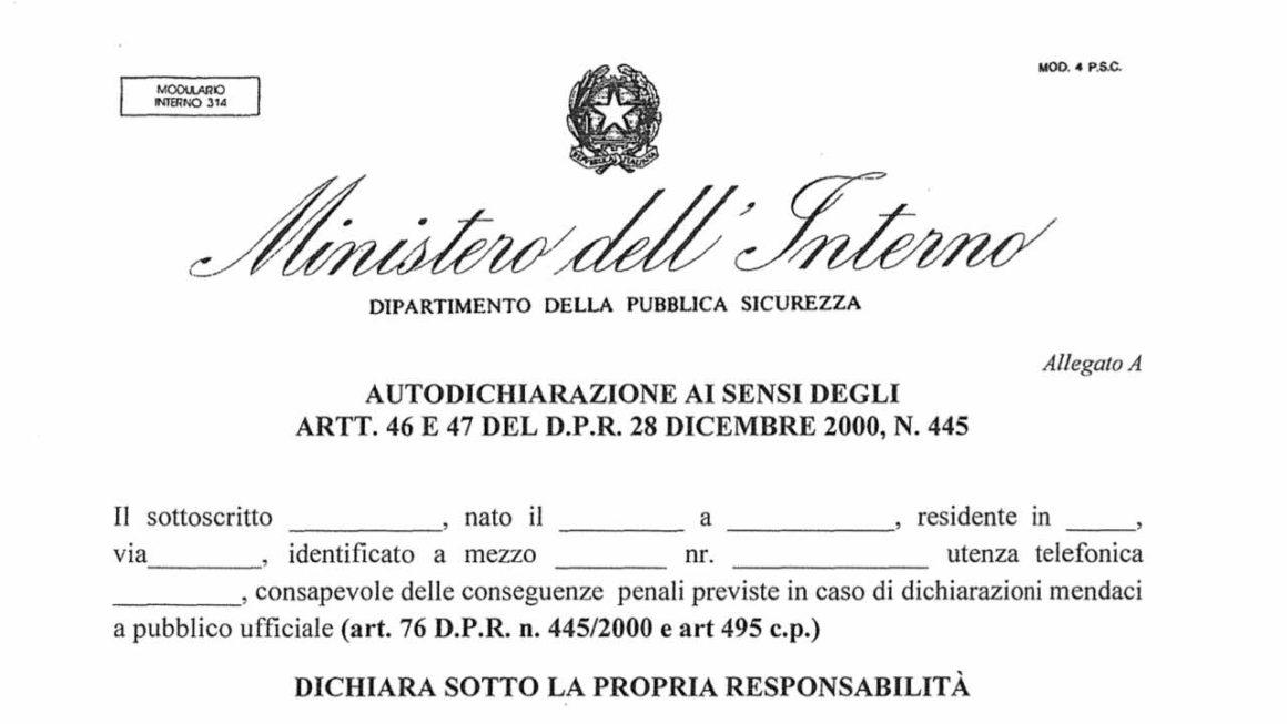 Modulo Autodichiarazione  ai sensi degli artt. 46 e 47 del D.P.R. 28 dICEMBRE 2000, N. 445 – Spostamenti Zona Protetta COVID-19 – DOWNLOAD