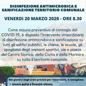 Disinfezione antimicrobica e sanificazione territorio comunale – Misure contenimento Covid-19