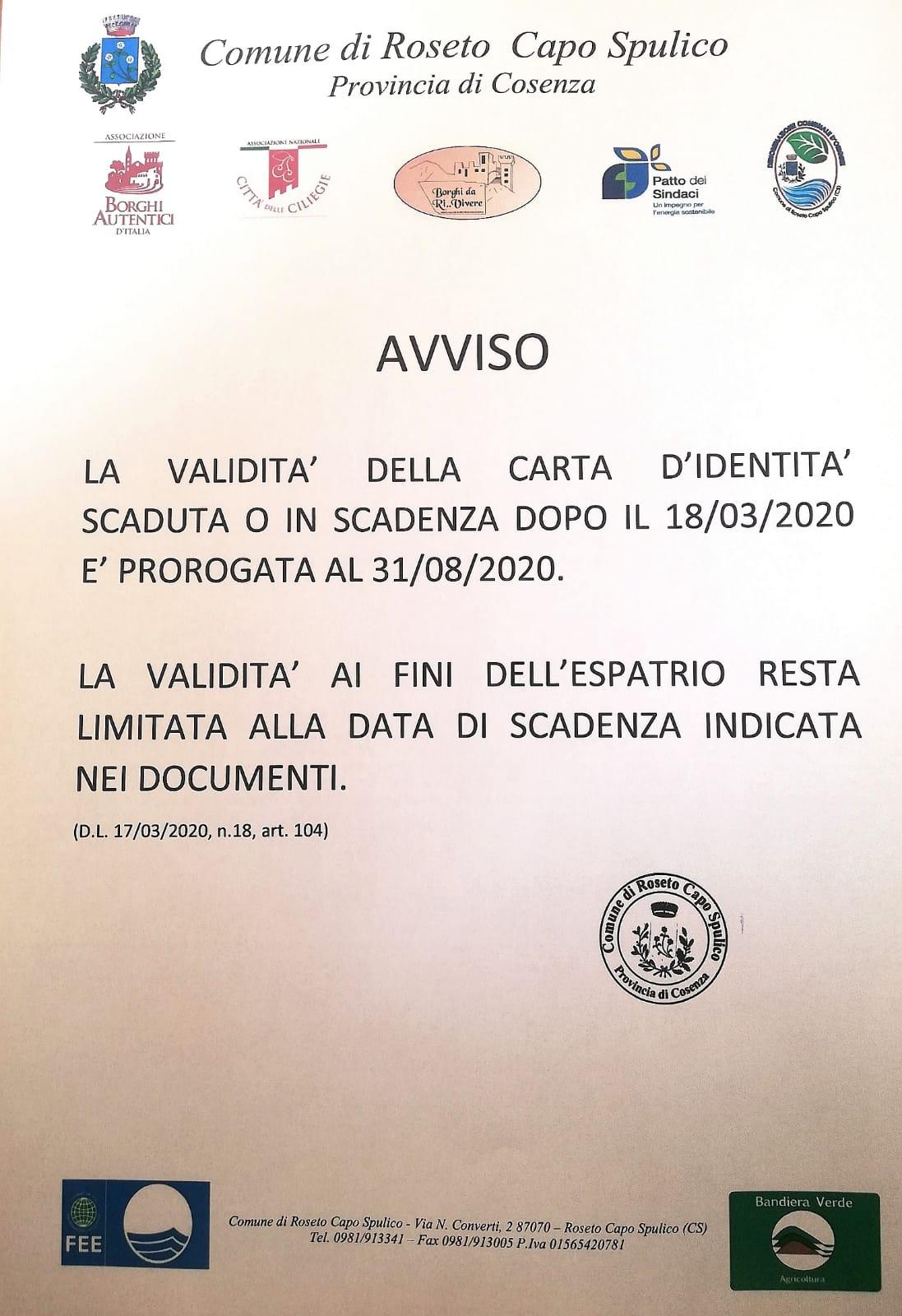 Avviso proroga validità carta d'identità – D.L. 17/03/2020 n.18 art. 104