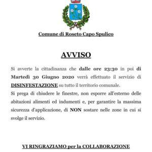 AVVISO DISINFESTAZIONE 30.06.2020