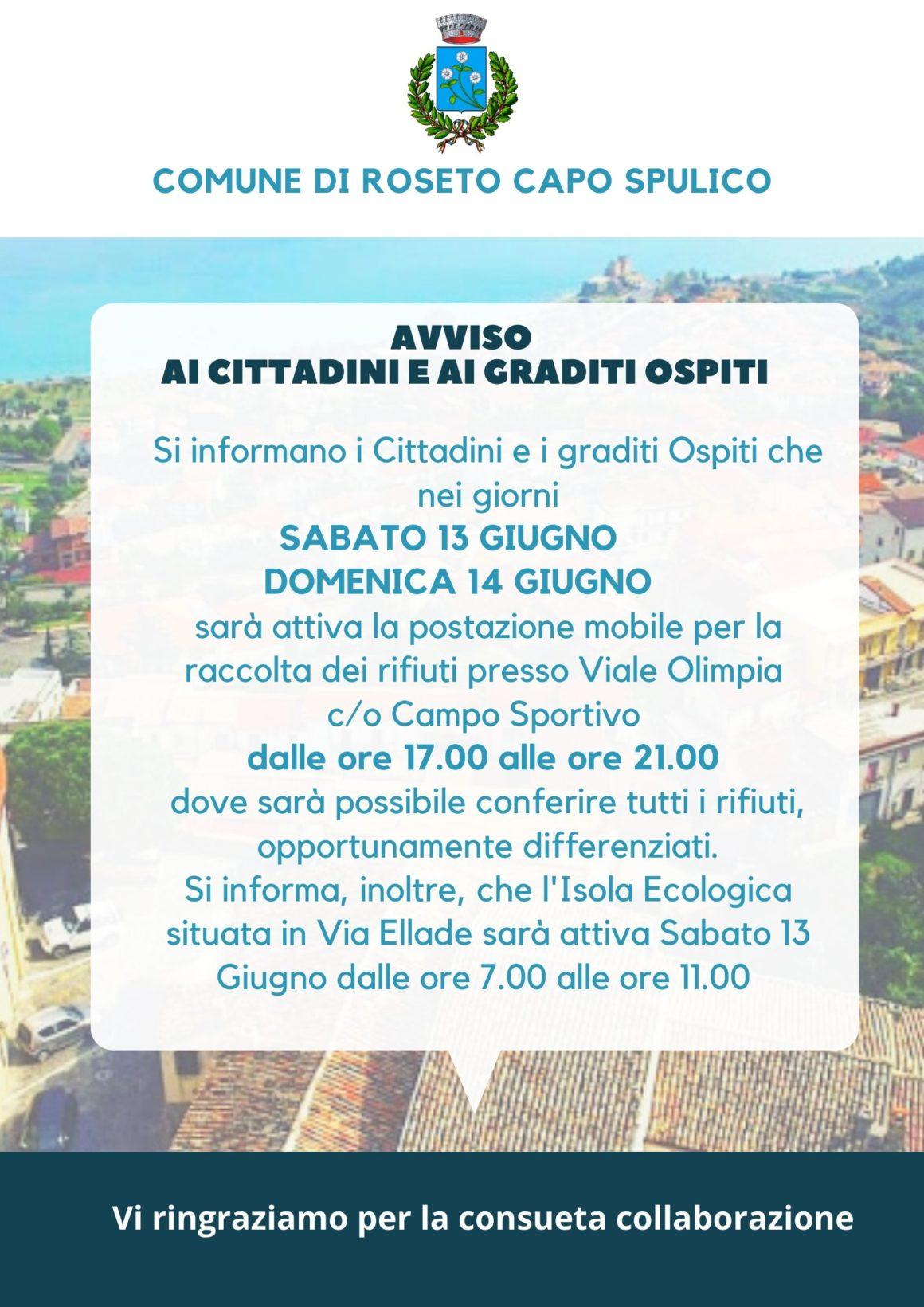 AVVISO RACCOLTA DIFFERENZIATA 13-14 GIUGNO 2020