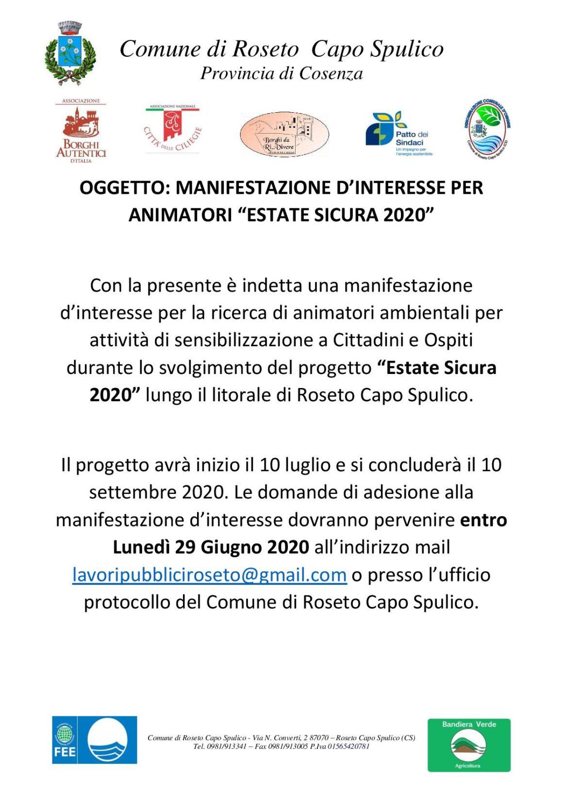 """MANIFESTAZIONE D'INTERESSE PER ANIMATORI """"ESTATE SICURA 2020"""""""