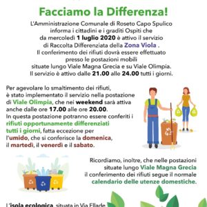 RACCOLTA DIFFERENZIATA – ZONA VIOLA – ESTATE 2020