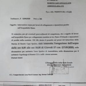 Interruzione servizio idrico – 17.09.2020