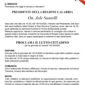 LUTTO CITTADINO PRESIDENTE REGIONE CALABRIA ON. JOLE SANTELLI