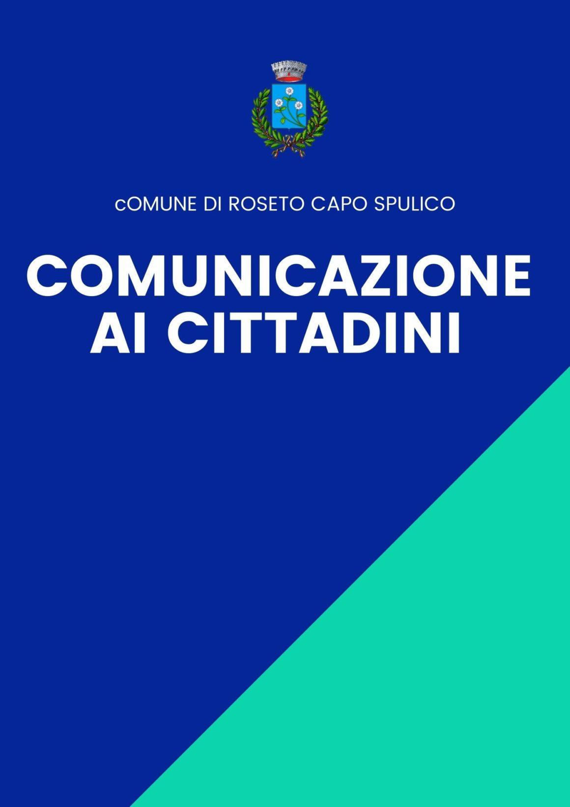 RISCONTRATO CASO DI POSITIVITA' AL COVID-19 A ROSETO CAPO SPULICO