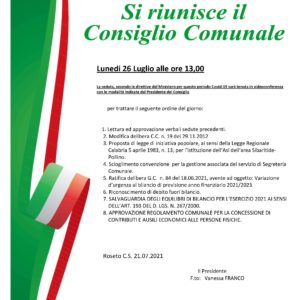 Convocazione Consiglio Comunale – 26.07.2021