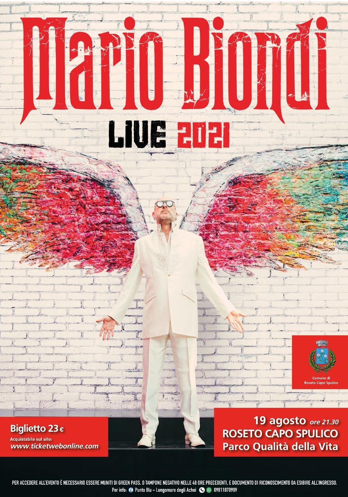 MARIO BIONDI LIVE 2021 – INFO UTILI PER ACCEDERE ALL'EVENTO